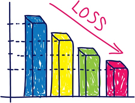 bearish business: loss graphic chart in doodle style Illustration