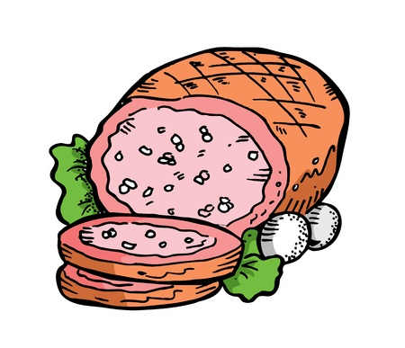 meat in doodle style Vector