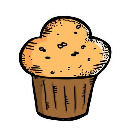 quick snack: cupcake in doodle style Illustration