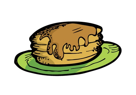 pan cake in doodle style Vector