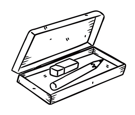 pencil box: pencil and eraser in doodle style
