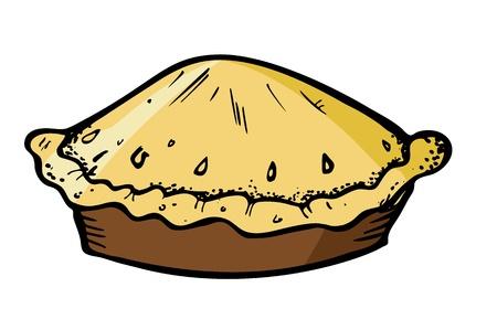 tarta de manzana: pastel en estilo dibujo Vectores