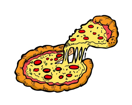 pepperoni pizza: pizza in doodle style Illustration