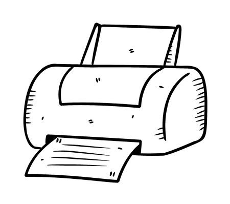 la impresora en estilo dibujo Ilustración de vector