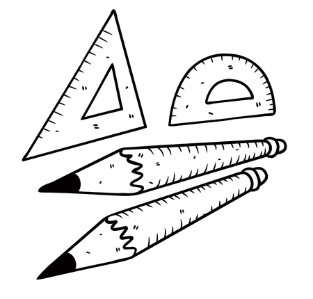 ruler and pencil in doodle style Vector