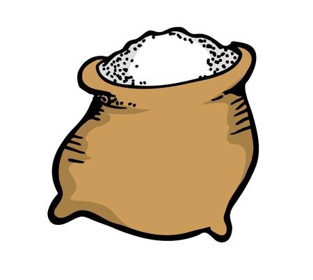 zsák cukrot a doodle stílusban Illusztráció