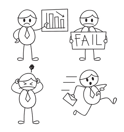 fail: cartoon worker in doodle style Illustration