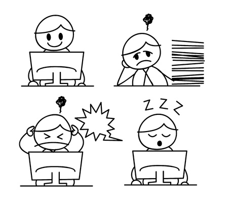 work stress: cartoon worker in doodle style Illustration