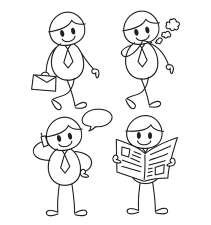 mood: cartoon worker in doodle style Illustration