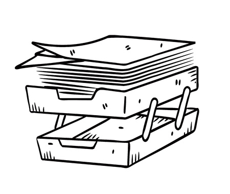 office stuff: paper tray in doodle style Illustration