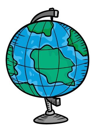 back problem: globe in doodle style Illustration