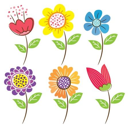 set of flower doodle Vector