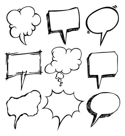 speech icon: set of bubble speec doodle