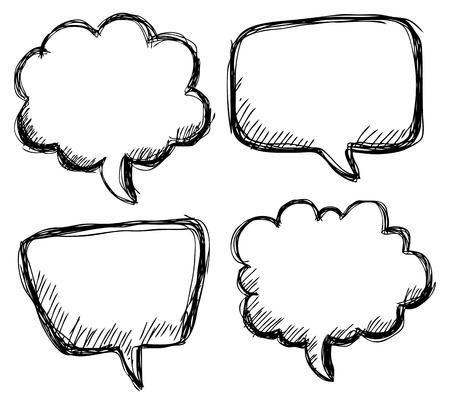 kézi rajz buborék beszéd Illusztráció