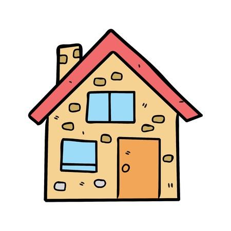 modern huis: huis in doodle stijl Stock Illustratie