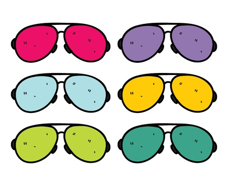 retro sunglasses in doodle stye Vector