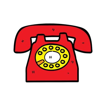old school: retro telephone in doodle style