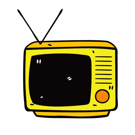 retro television in doodle style Vector