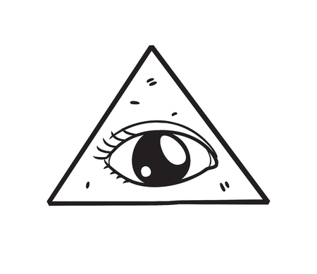 ojo de horus: francmasón símbolo de estilo garabato Vectores