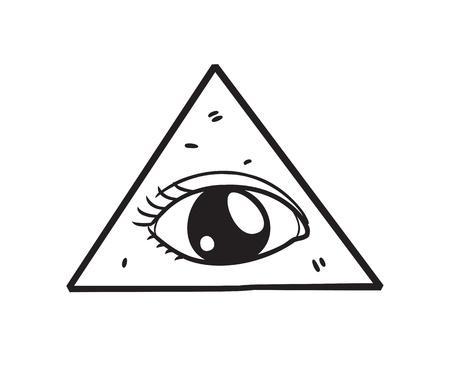 rosicrucian: freemason symbol in doodle style
