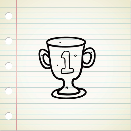 trophy in doodle style Vector