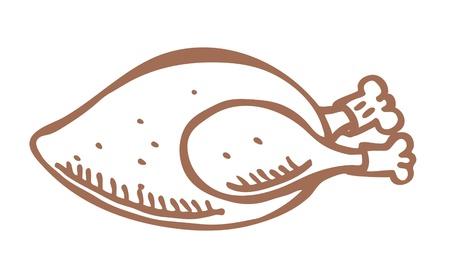 pollo caricatura: Doodle de la carne de pollo Vectores