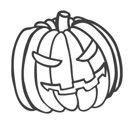 calabaza caricatura: calabaza de Halloween garabato