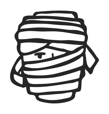 mummy face doodle Vector