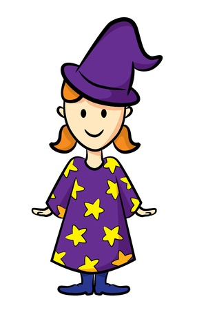 clip art draw: cute girl wearing witch costume