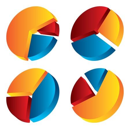 3d taart hart Vector Illustratie