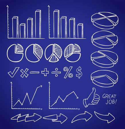 pie chart graph: set of info chart doodle Illustration