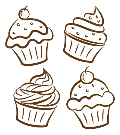 cupcake and yoghurt doodle Vector