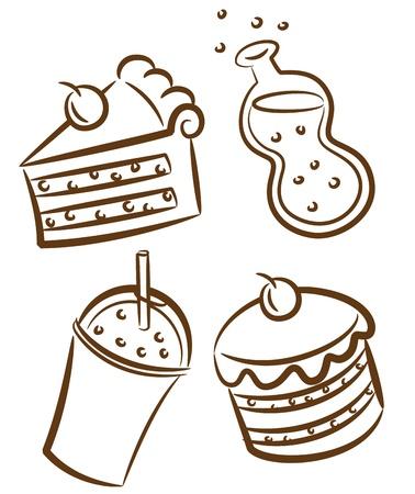 Speisen und Getränke doodle