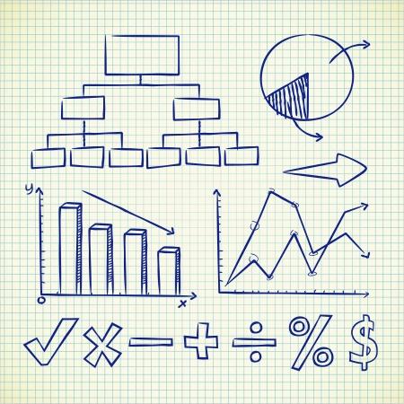math paper: set of info chart doodle Illustration