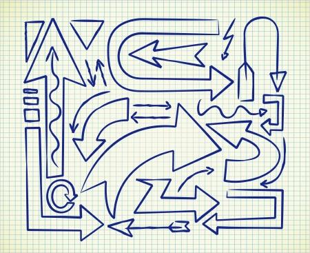link up: set of arrow doodle Illustration