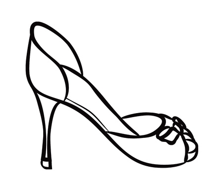 high heels woman: female shoes doodle Illustration