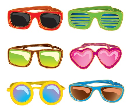 retro sunglasess doodle Vector