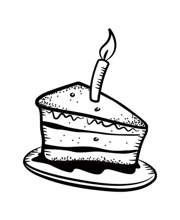 porcion de torta: rebanada pastel con velas