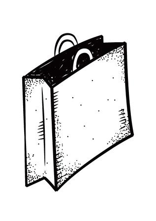 hand cart: shopping bag doodle Illustration