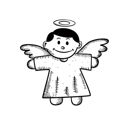 child praying: cute angel doodle