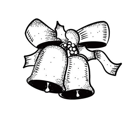 campanas de navidad: La Navidad Bell con arco Vectores