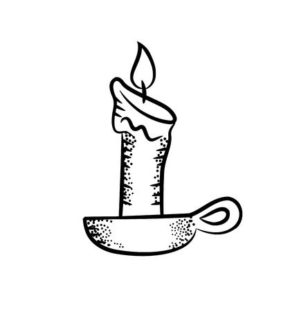 glowing candle: candle in doodle style Illustration
