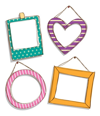 love picture: set of cute frame doodle Illustration