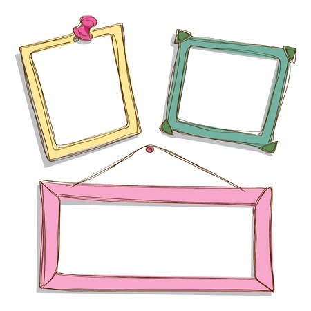 cute border: set of cute frame doodle Illustration