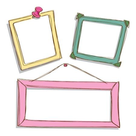 vintage picture frame: set of cute frame doodle Illustration