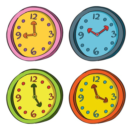 abstract alarm clock: Set of clock in various color