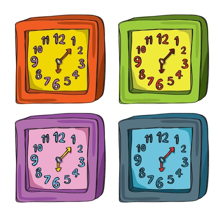 Set of clock in various color