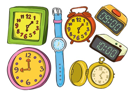 wristwatch: Set of colorful clock and watch doodle