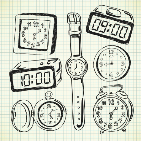 Set of watch and clock doodle Vector