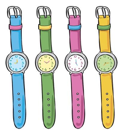 orologio da polso: Set di orologio in diversi colori Vettoriali
